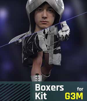 Boxers Kit G3M for Gensis 3 Male 3D Figure Assets gravureboxing