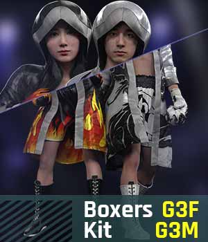 BUNDLE - Boxers Kit G3 Pack for Gensis 3 Female And Gensis 3 Male 3D Figure Assets gravureboxing