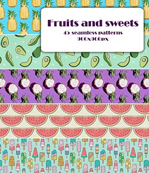 Fruits_and_sweets - Seamless texture 2D Graphics Merchant Resources romawka