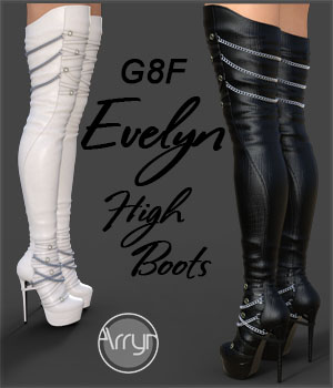 Evelyn High Boots for Genesis 8 Females 3D Figure Assets Onnel