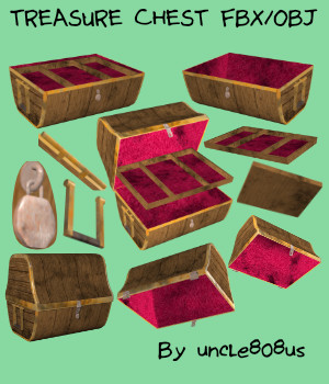 Treasure Chest FBX OBJ 3D Models uncle808us