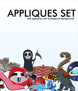Appliques Set 2D Graphics Merchant Resources Cyrax3D