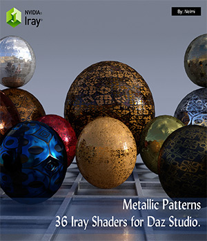 Metallic Patterns - 36 Iray Shaders for Daz Studio  3D Figure Assets nelmi