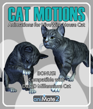 Cat Motions for Daz Studio  3D Figure Assets AnyMatter
