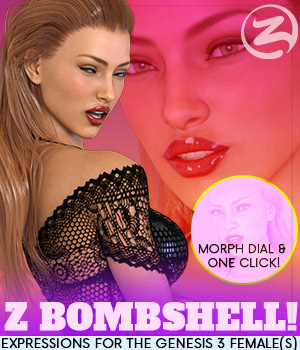 Z Bombshell - One-Click and Morph Dial Expressions for the Genesis 3 Females 3D Figure Assets Zeddicuss