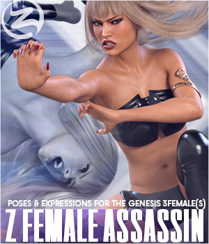 Z Female Assassin - Poses for the Genesis 3 Female(s) 3D Figure Assets Zeddicuss