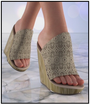 FootZee - Wedge Mules for G8F 3D Figure Assets Lully