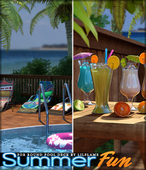 Summer Fun for Round Pool Deck 3D Figure Assets Sveva