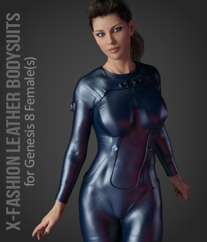 X-Fashion Leathers Bodysuit for Genesis 8 Females