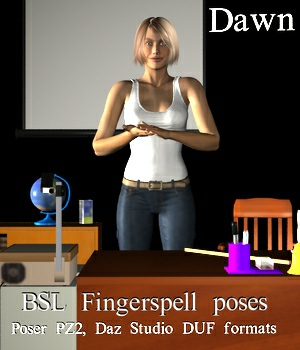 BSL Fingerspell Poses for Dawn 3D Figure Assets WorkmanJC