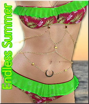 Endless Summer - for Summer Frills Bikini 3D Figure Assets LUNA3D