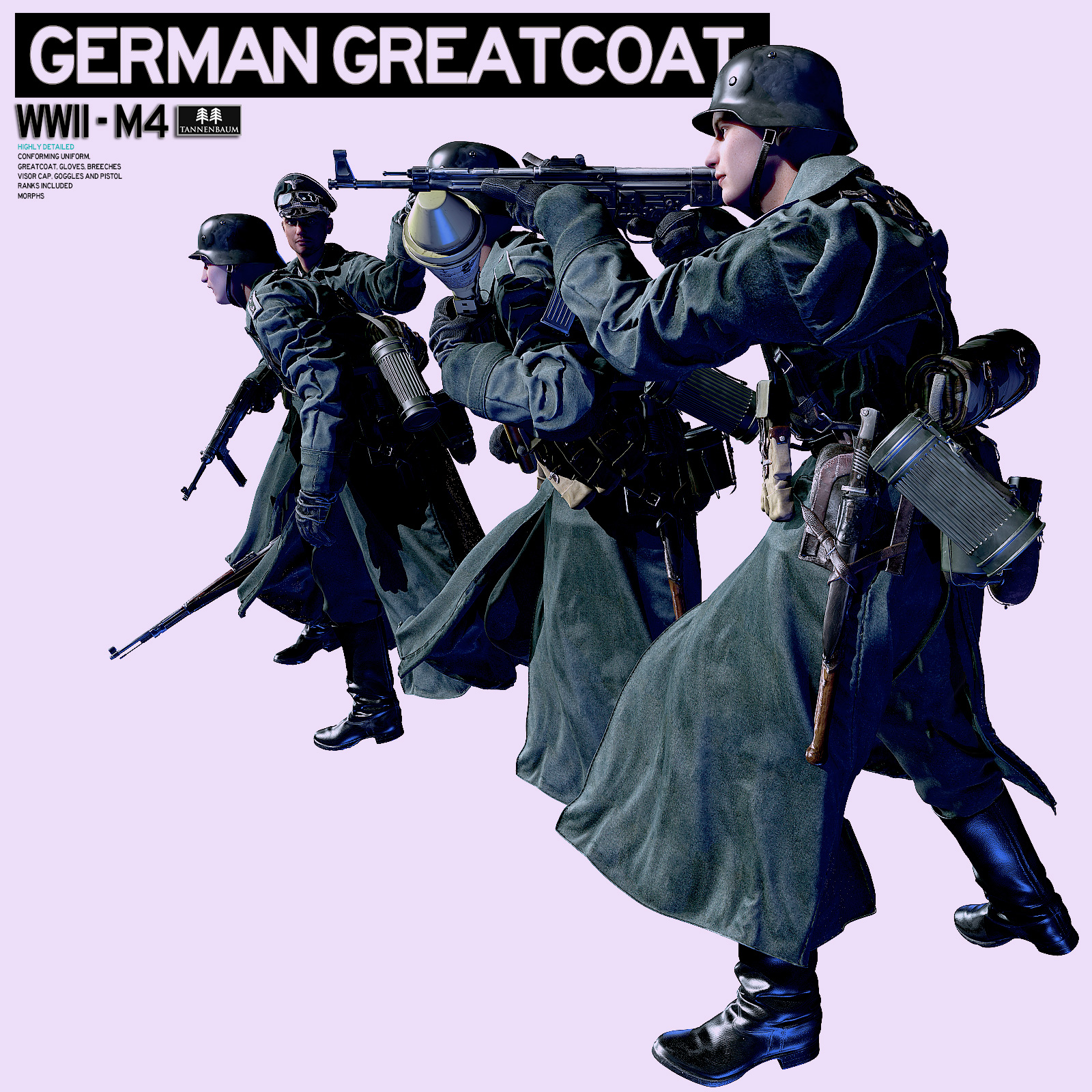German Greatcoat WWII 3D Figure Assets 3D Models