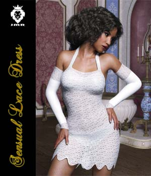 JMR Sensual Lace Dress for G3F 3D Figure Assets JaMaRe