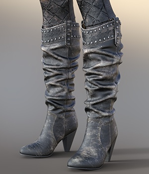 Chic Western Boots For G8F 3D Figure Assets idler168