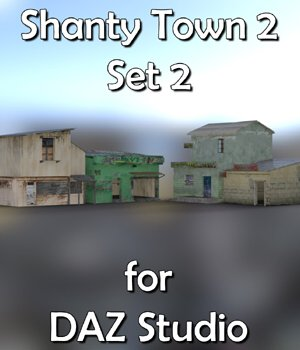 Shanty Town Buildings 2 Set 2 for DAZ Studio 3D Models VanishingPoint
