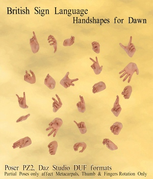 BSL Handshape Poses for Dawn 3D Figure Assets WorkmanJC