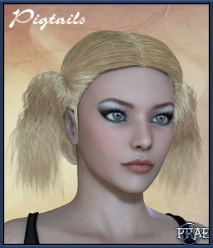Prae-Pigtails for V4 poser 3D Figure Assets prae