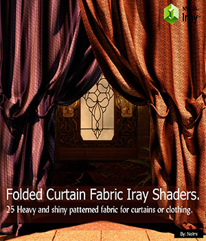 Folded Curtain Fabric - 25 Iray Shaders for Daz Studio  3D Figure Assets nelmi