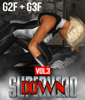 SuperHero Down for G2F & G3F Volume 3 3D Figure Assets GriffinFX