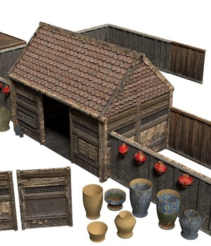 Samurai Rural Wooden Japan Forest House Set Farmer VR / AR - Extended License 3D Game Models : OBJ : FBX 3D Models Extended Licenses behrtron