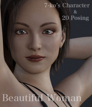 7-ko's Character Beautiful Woman 3D Figure Assets 7-ko