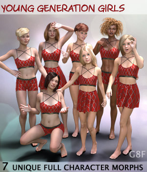 Young Generation Girls G8F  Full Custom Character Morphs 3D Figure Assets Mar3D