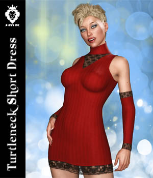 JMR Turtleneck Short Dress for G3F 3D Figure Assets JaMaRe