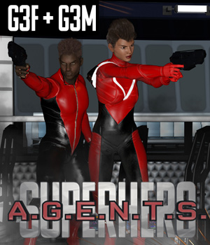 SuperHero Agents for G3F and G3M Volume 1 3D Figure Assets GriffinFX
