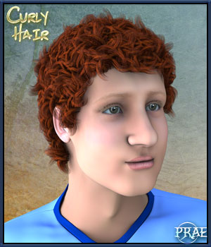 Prae-Curly hair For Raffael  3D Figure Assets prae