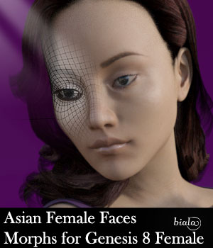 Asian Female Faces Morphs for Genesis 8 Female