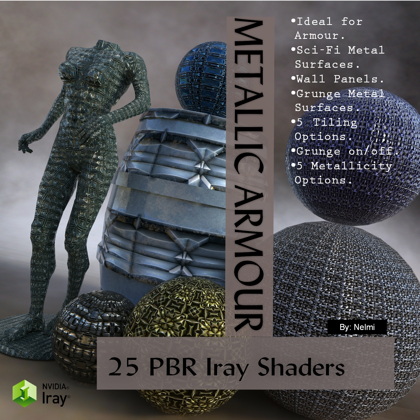 25 Metallic Armour PBR Iray Shaders for Daz Studio