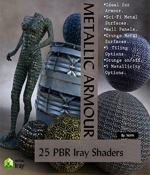 25 Metallic Armour PBR Iray Shaders for Daz Studio 3D Figure Assets nelmi