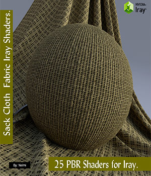 25 Sackcloth PBR Fabric Iray Shaders for Daz Studio 3D Figure Assets 2D Graphics nelmi