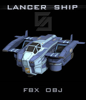 Lancer Ship FBX - Extended License 3D Game Models : OBJ : FBX 3D Models Extended Licenses shawnaloroc