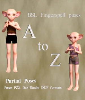 BSL Fingerspell Poses for Scampixie Pranx 3D Figure Assets WorkmanJC