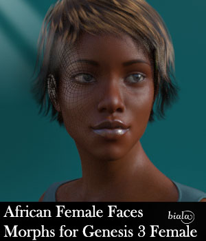 African Female Faces Morphs for Genesis 3 Female 3D Figure Assets biala