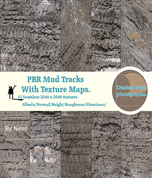 12 Mud Tracks PBR Textures with Texture Maps  2D Graphics nelmi