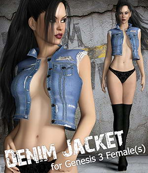Denim Vest for Genesis 3 Females 3D Figure Assets mytilus