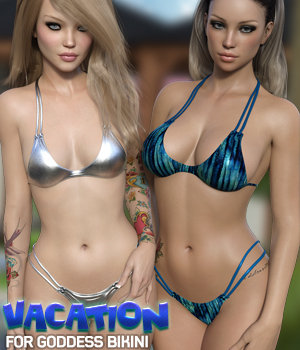 Vacation for Goddess Bikini 3D Figure Assets Silver