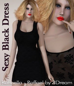 Sexy Black Dynamic Dress - Raffael 3D Figure Assets nirvy