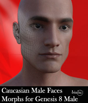 Caucasian Male Face Morphs for Genesis 8 Male 3D Figure Assets biala