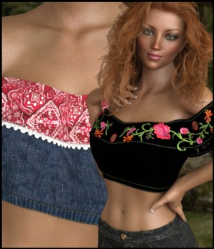 7th Ave: Ruffle Top for Genesis 8 Females 3D Figure Assets 3-DArena