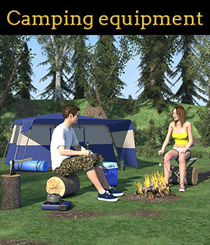 Camping equipment scene 3D Models 2nd_World