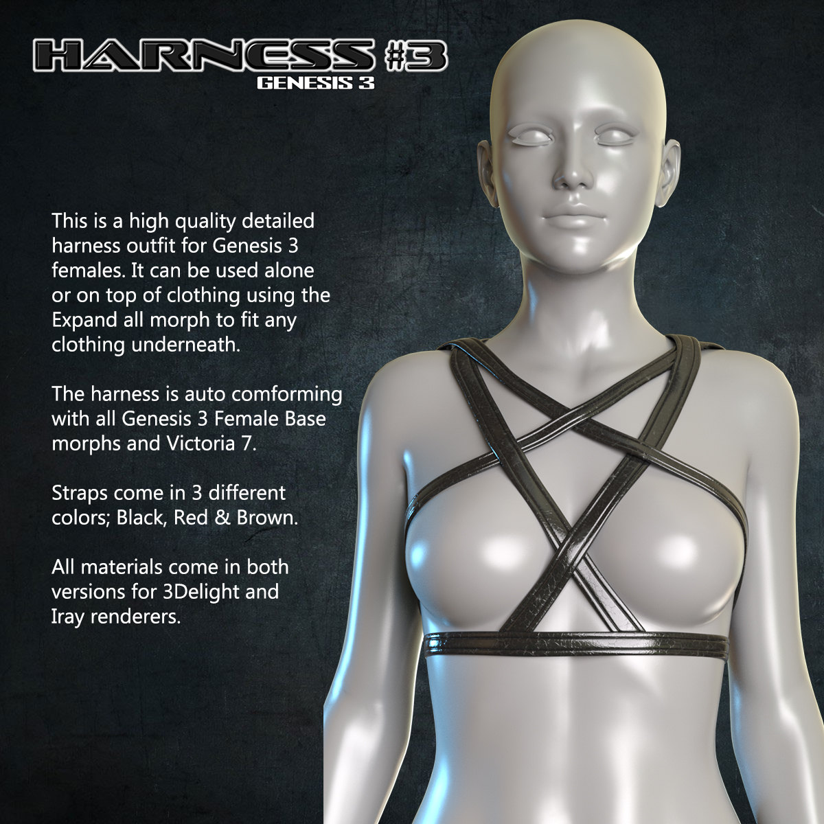 Exnem Harness 3 for Genesis 3 Female