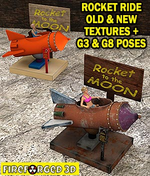 Rocket Ride and Poses for Daz Studio 3D Figure Assets 3D Models FireForged3D