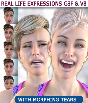 Real Life Expressions for G8F & V8 - With Morphing Tears 3D Figure Assets Mar3D