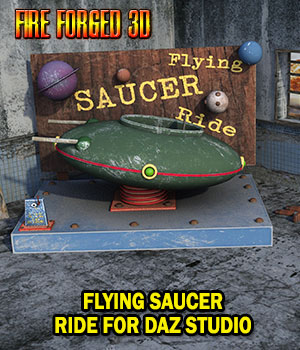 Flying Saucer Ride for Daz Studio 3D Models FireForged3D