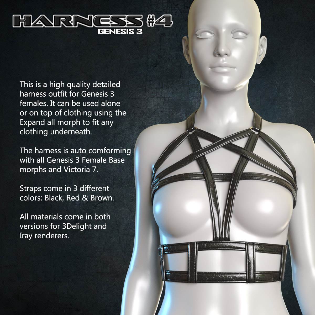 Exnem Harness 4 for Genesis 3 Female