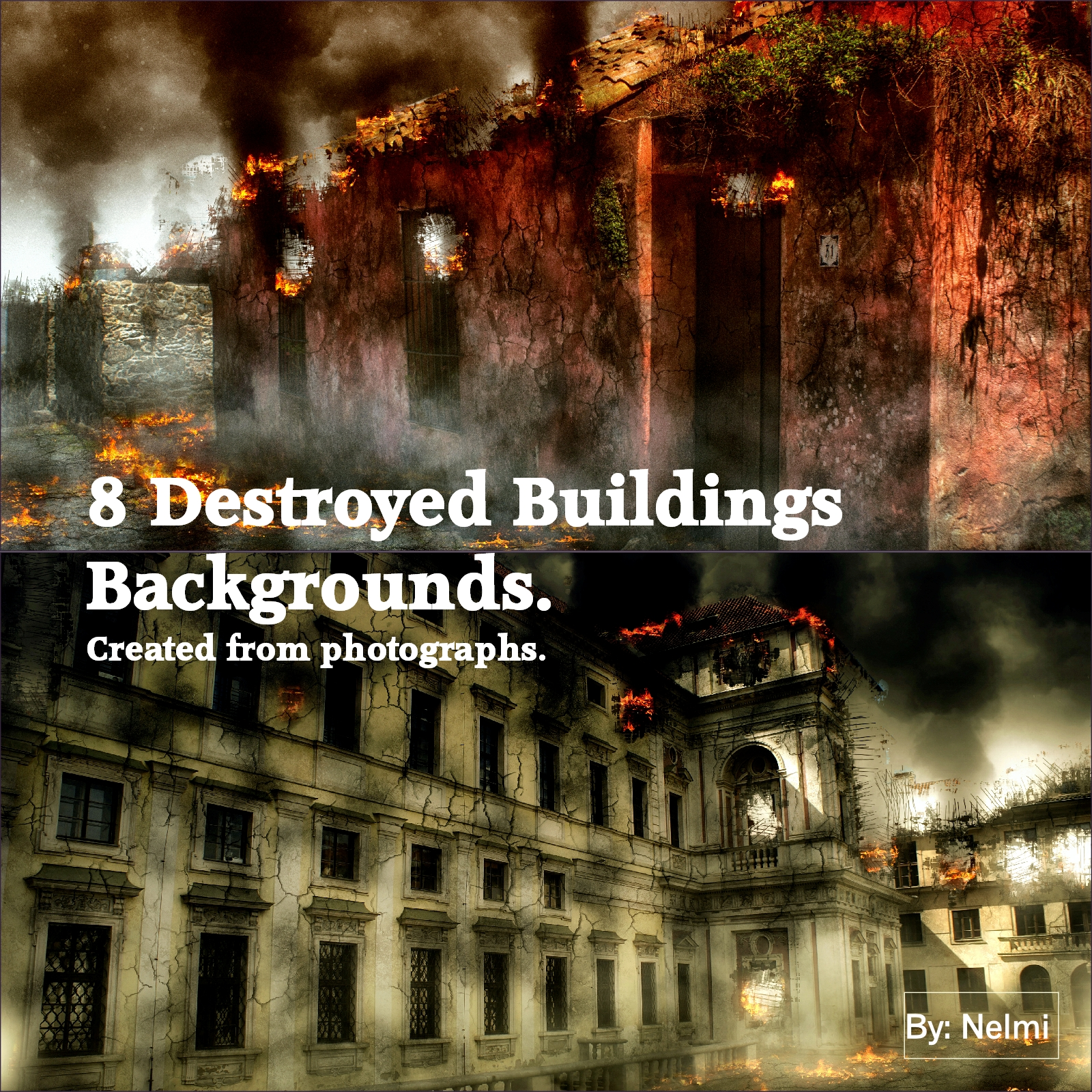 8 Destroyed Buildings Backgrounds