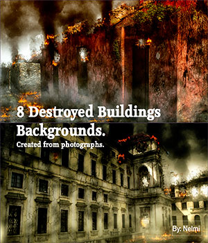 8 Destroyed Buildings Backgrounds 2D Graphics nelmi